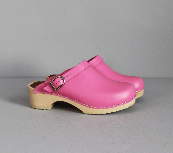 vintage PINK leather  wooden swedish clogs 5 1/2   6 by secretlake, $49.00