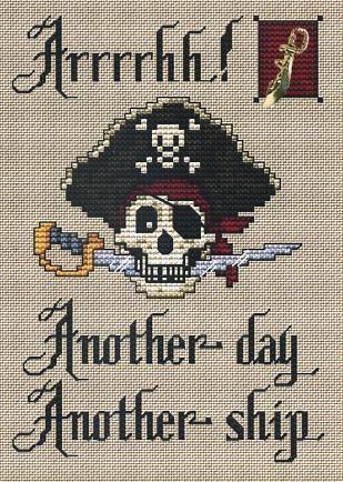 Arrrgh Post Stitches pirate cross stitch chart with charm Sue Hillis Designs $5.40  #pirate