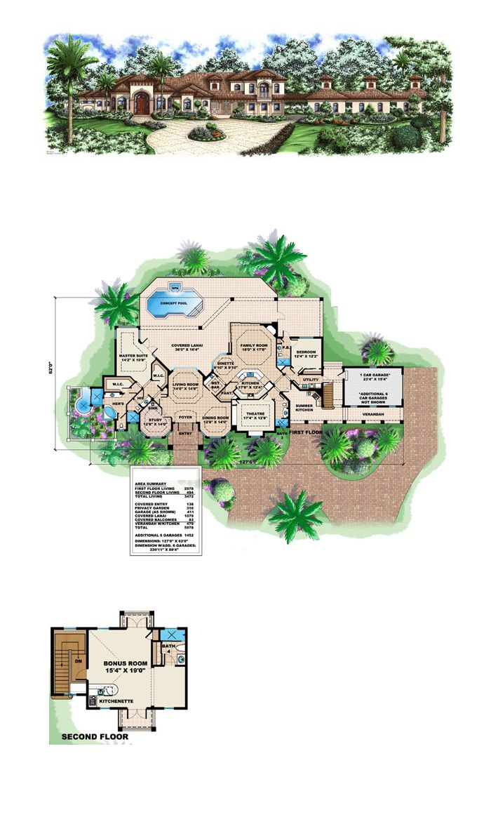 Luxury House Plan 60424 | Total Living Area: 3472 sq. ft., 2 bedrooms and 5 bathrooms. #luxuryhome