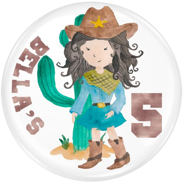 Cowgirl Personalised Birthday Party Badge #914