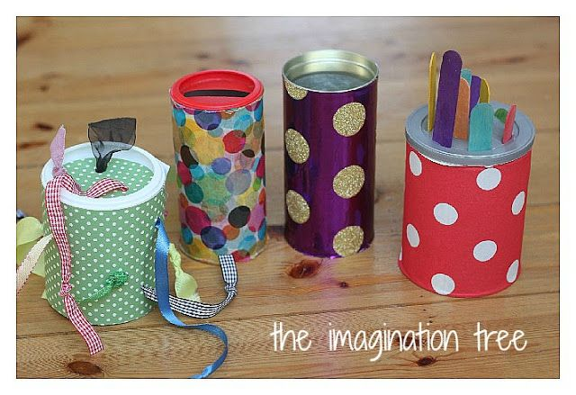 DIY Motor Skills toys for babies & toddlers:   Posting Toy, Tactile Ribbon Pull Toy, Lolly Stick In-Out Toy, & Noisy Roller-Shaker Crawling Toy