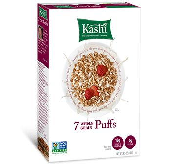Kashi 7 Whole Grain Puffs - 70 calories, 18 grams Whole Grains, No sugar added, HEALTHIEST CEREAL OPTION.  Ingredients: Whole Hard Red Wheat, Whole Brown Rice, Whole Oats, Whole Barley, Whole Triticale, Whole Rye, Whole Buckwheat, Sesame Seeds