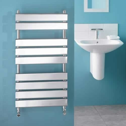 Designer flat panel heated towel rail for the cloakroom or ensuite.