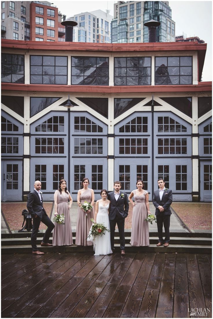 Wedding party photography at the Roundhouse in Yaletown, Vancouver