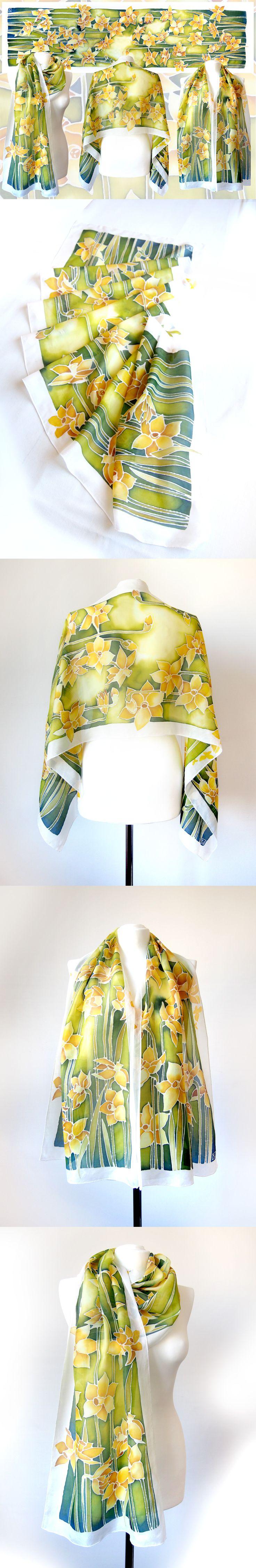Silk scarf Daffodils hand painted by Luiza Malinowska #minkulul