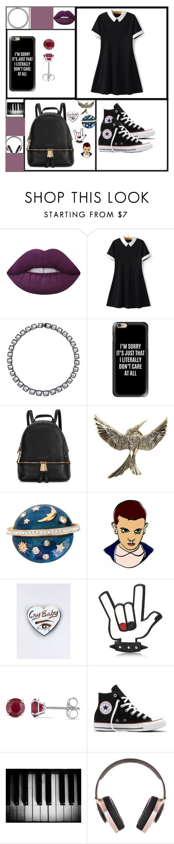 """""""Eh"""" by mysticalmonster15 ❤ liked on Polyvore featuring Lime Crime, WithChic, Larkspur & Hawk, Casetify, Michael Kors, Swarovski, Dsquared2, Allurez, Converse and Pryma"""