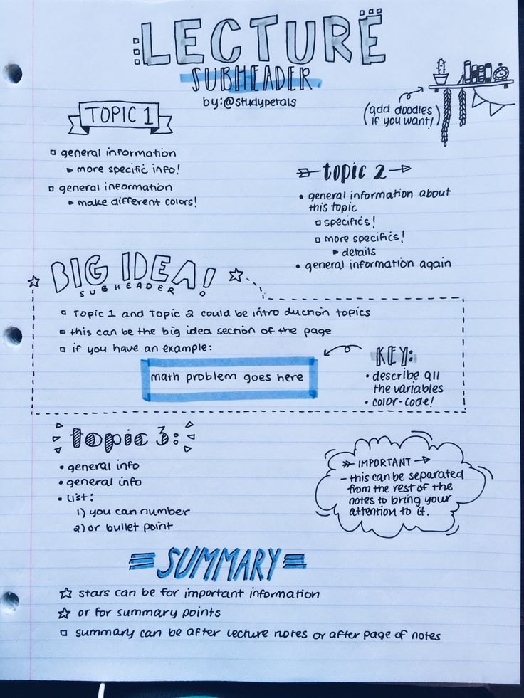 studypetals:  4.8.16+2:00pm // 32/100 days of productivity // made a layout of how i generally organize my notes! this is only one example; i have a lot of different layouts. this one is my most used, so i thought i'd share!
