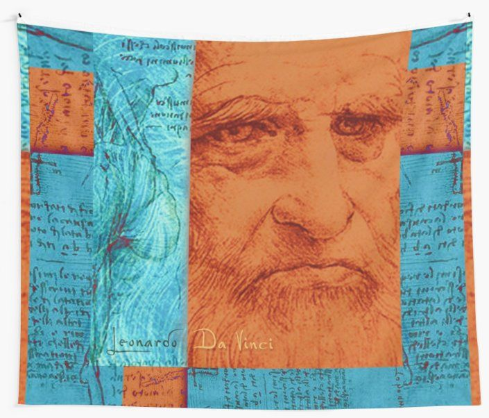 Leonardo da Vinci  Wall Tapestry. #leonardodavinci #davinci #davinciwalltapestry #davicitapestry #davinciportrait #painter #walltapestry #tapestry #redbubble #artist #popular #home #art #design #homedecor #homegifts #art #design #online #shopping #giftsforhim #family #style #bachelor  #giftsforher  #livingroom #39 #deals #dorm #campus #fraternity #house #decor • Also buy this artwork on various cool products.