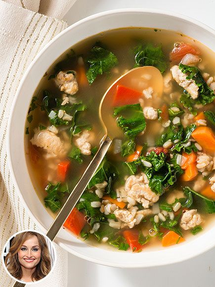 PEOPLE's Top Food Pins of 2014 | GIADA DELAURENTIIS'S TURKEY & KALE SOUP | How does the Food Network star eat all day and not bust out of her wardrobe? Two words: portion control. She balances out her pasta dishes with healthful meals, like this turkey, kale and brown rice soup.