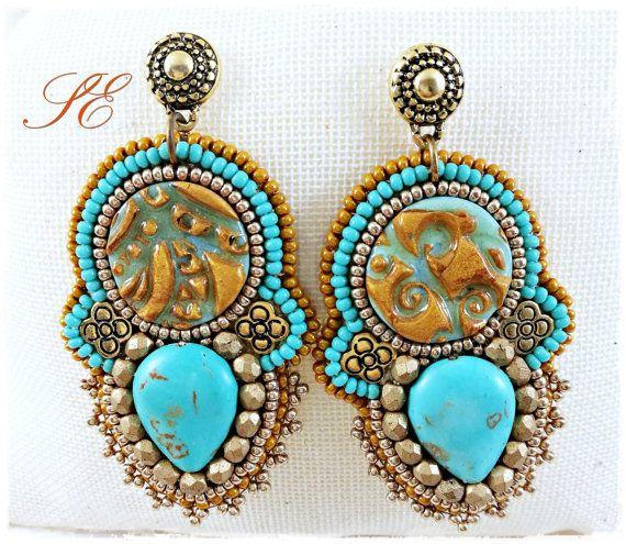 Bead embroidery earrings handmade