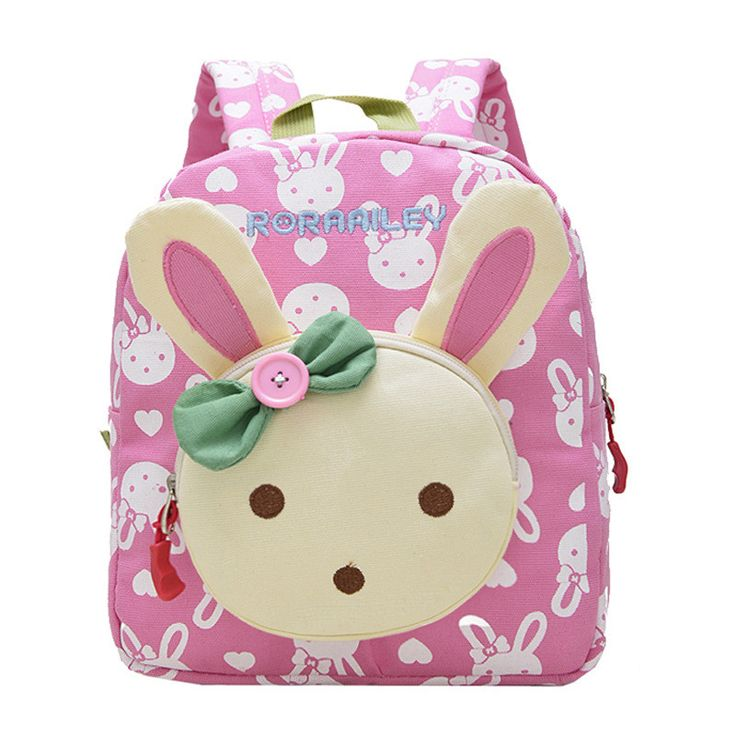 3D Rabbit Dolls Applique Cute Kids School Bags Canvas Backpack Mini Lovely Baby Toddler Book Bag