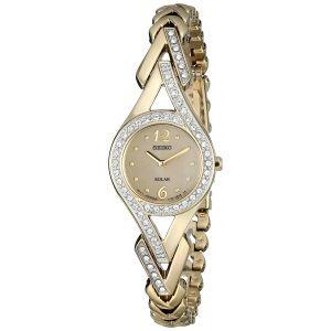 Seiko Women's Swarovski Crystal-Accented Stainless Steel Solar Watch