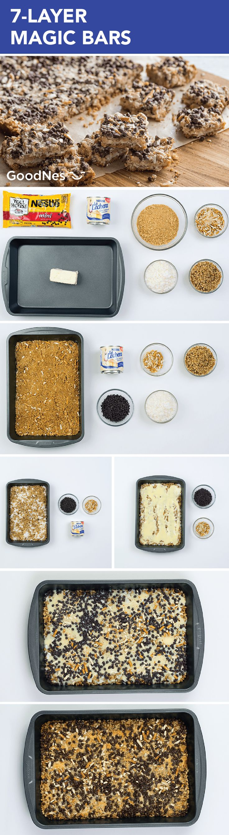 Made with Nestlé® Toll House® Semi-Sweet Chocolate Mini Morsels, Nestlé® La Lechera® Sweetened Condensed Milk, coconut, nuts, pretzels and graham cracker crumbs, this flavorful snack recipe for 7-Layer Magic Bars is great for sharing with coworkers in the office.
