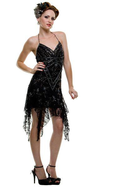 Flapper Dress 1920's Style Black Lace Mini Dress - XS to XL - Unique Vintage - Homecoming Dresses, Pinup & Prom Dresses.