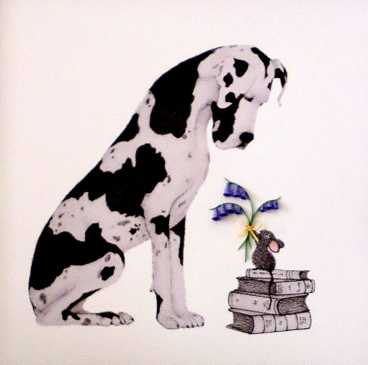 Dog Illustration Print. Limited Edition Pencil Drawn Great Dane with Baby Mouse and 3D Bluebells. Dog Lovers Gift. Great Dane Lover. by QuillArtuk on Etsy