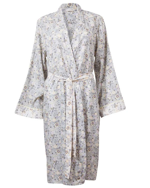 Katie Brushed Floral Printed Robe  Gorgeous brushed two toned floral printed Robe with the body in the dark print, light print detailing on sleeve cuff, inner collar band, tie and piping on stole. Modal piping trims at sleeve hem from the Katie Range  54% Cotton, 46% Lyocell