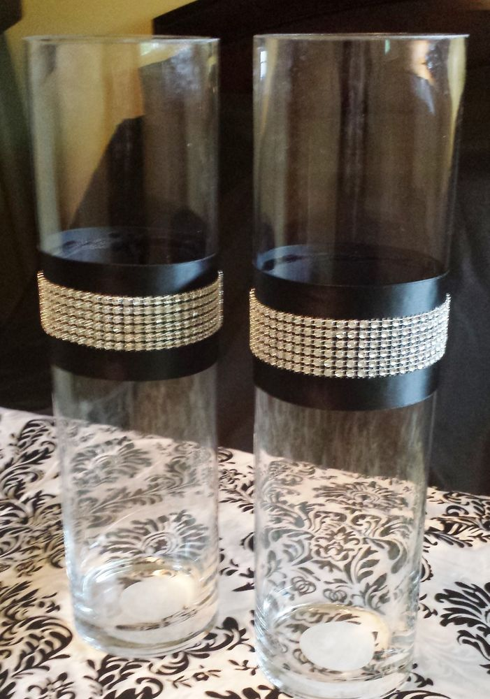 "2-14"" Cylinder Centerpiece Vases Wedding Party Black & Bling Ribbon"