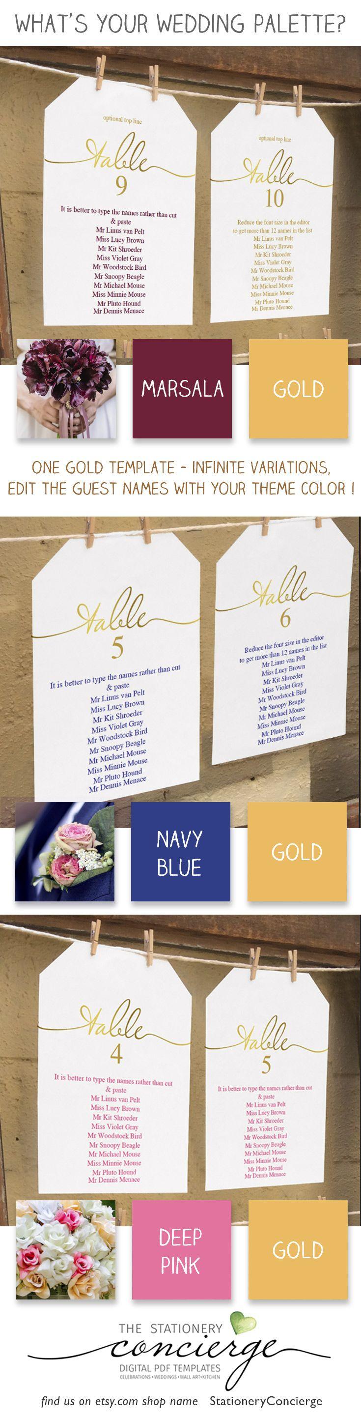Gold Wedding Seating Chart Template Printable 5x7