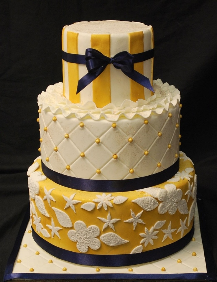 Gold and Navy Wedding Cakes SweetTpieS