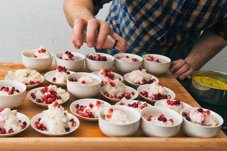 rice with coconut milk, rose and pomegranate