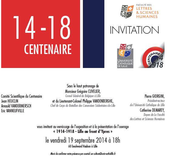 """Vernissage de l'exposition """"Lille, au front d'Ypres"""" - Guerre 14-18"""