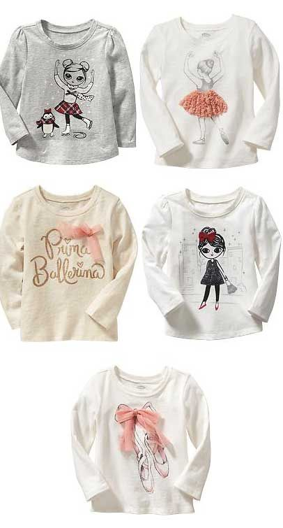 Darling ballerina graphic tees for your little girl - all under $10! http://rstyle.me/n/vaqaznyg6