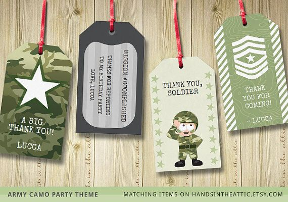 army theme party gift tags printable camo green decoration