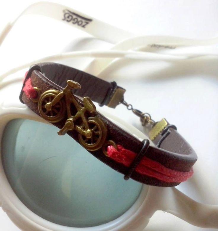 leather bike bracelet,bike love bracelet,copper bike bracelet ,trijewelry by TriJewelry on Etsy
