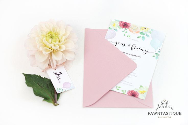 Lovely pastel wedding invitation with flowers and balloons. More informations about this set on our website.