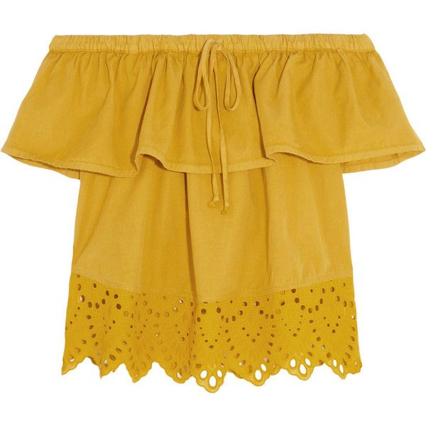 Madewell Off-the-shoulder broderie anglaise cotton-blend top (£95) ❤ liked on Polyvore featuring tops, shirts, yellow, madewell, yellow top, scalloped top, mustard yellow shirt and mustard yellow top
