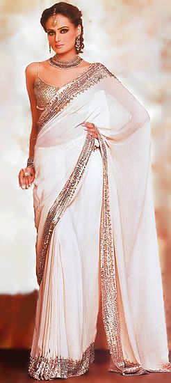 White & Gold Saree... Definitely want to invest in a white saree one day!