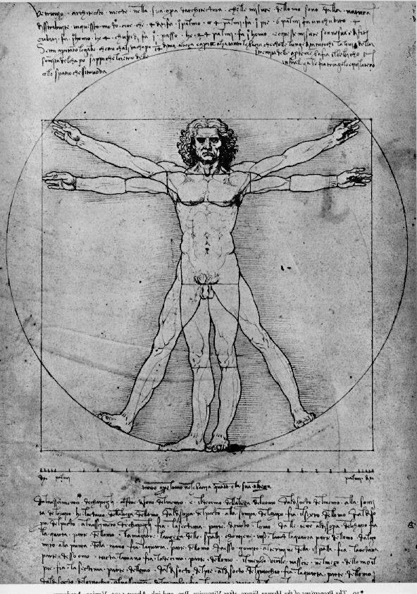 """Leonardo da Vinci- """"Człowiek Witruwiański"""" 1490"""