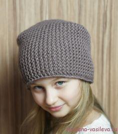 вязаная шапка бини спицами