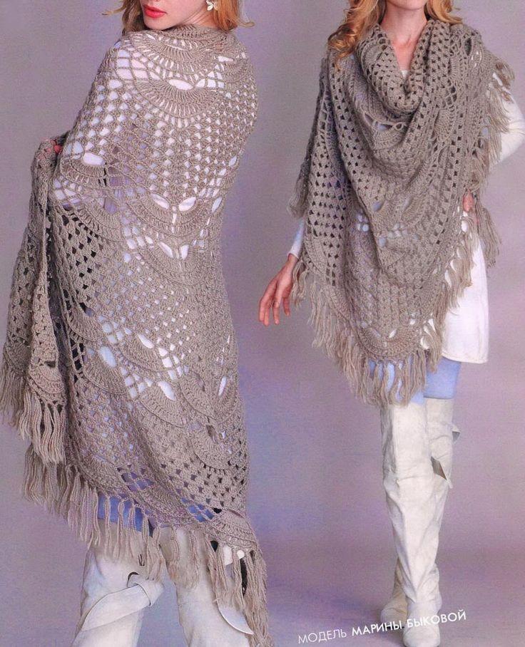 Crochet Chales: Modelo Chal de ganchillo - Maravilloso mantón Para Chic Mujeres