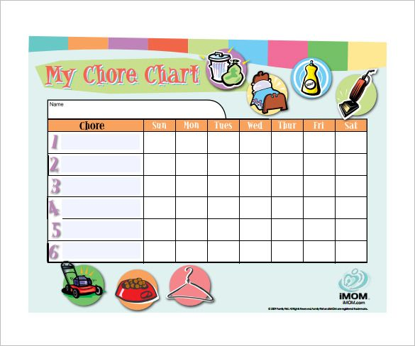 Weekly Chore Chart Template - 24+ Free Word, Excel, PDF Format Download | Free & Premium Templates