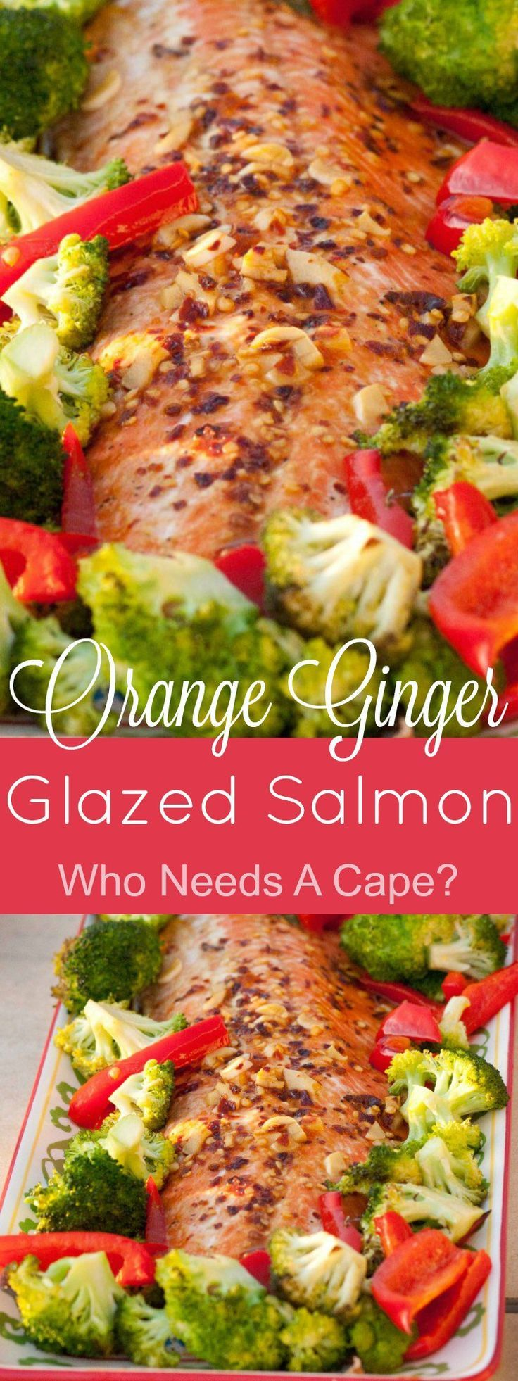 This Orange Ginger Glazed Salmon is a lovely dish full of flavor! With a tasty marinade that brings this dish to life, you'll also love how this is done. | Who Needs A Cape?