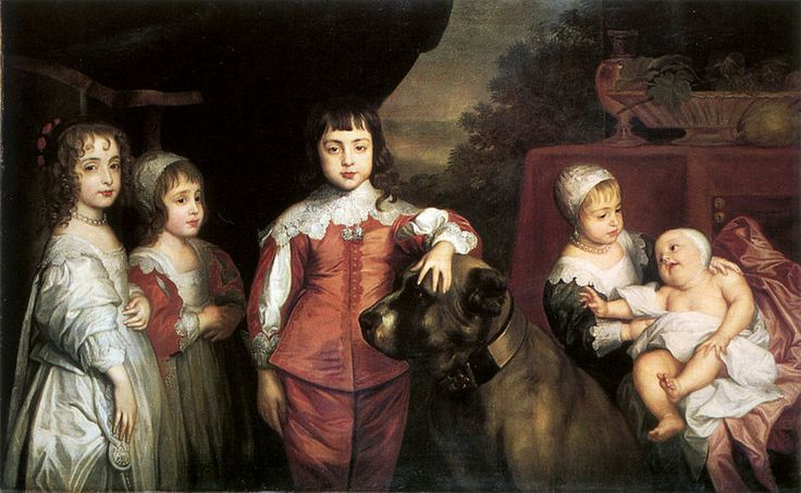The five children of Charles I, after Van Dyck.jpg    From left to right Mary, Princess Royal - later Princess of Orange and mother to King William III of England; James - later King James II of England and father of Queen Mary I and Queen Anne; Charles - later King Charles I of England and the little princesses Catherine and Anne (prince Henry and princess Henrietta was not yet born)