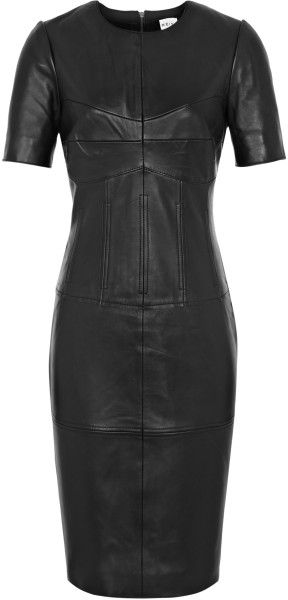 Reiss Black Corseted Leather Dress