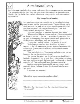 FREE READING WORKSHEET~  In this language arts worksheet, students will read three parts of a traditional story from India and answer questions about the characters' feelings using complete sentences.