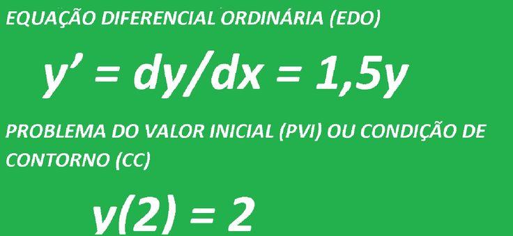 Equações Diferenciais Ordinárias com Problema do Valor Inicial PVI ou Condição de Contorno CC – Aula. Como resolver uma Equação Diferencial Ordinária (EDO), passo a passo. Problema comentado. Vídeoaula do Curso de Matemática e Cálculo Diferencial e Integral I, II, III e IV e Cálculo Vetorial.  Questão resolvida: y' = dy/dx = 1,5y;  y(2) = 2.  https://youtu.be/kjTGdmxf0RM
