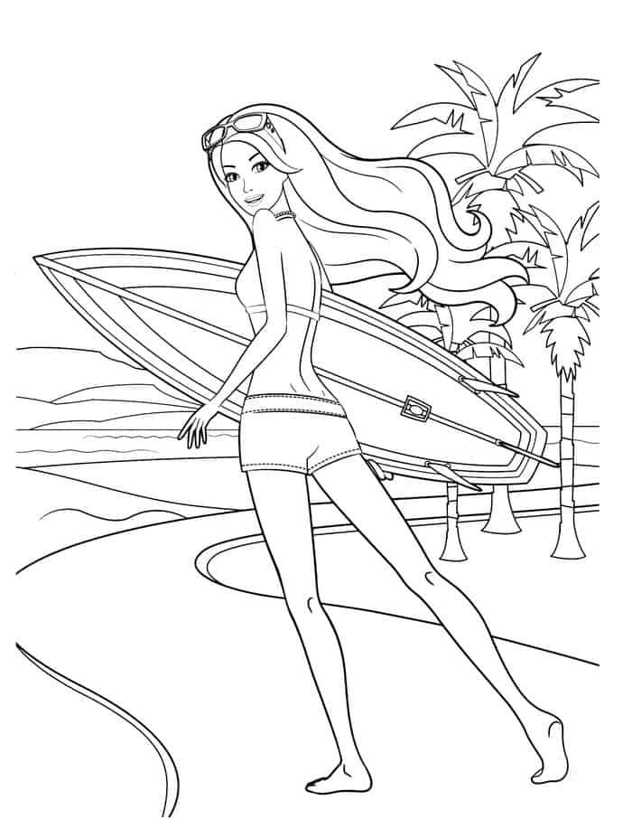Barbie Coloring Pages Beach Background