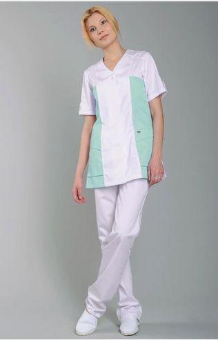 """Блуза медицинская женская """"Виола"""" с зеленой отделкой"""