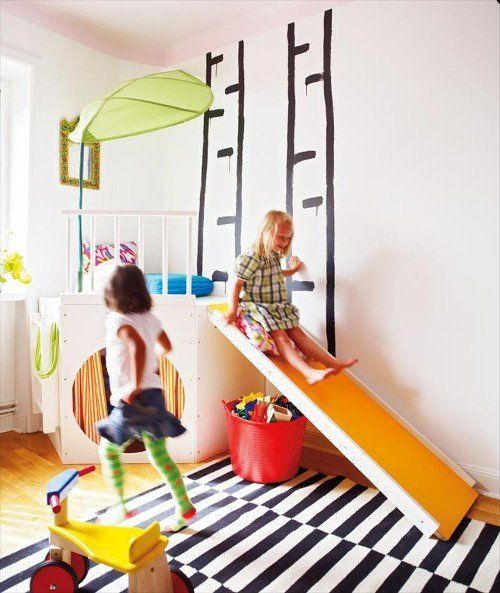 We're smitten with this slide, puppet theater, lofted nook 3-in-1 play unit.  It turns a corner of the bedroom into a fun zone.