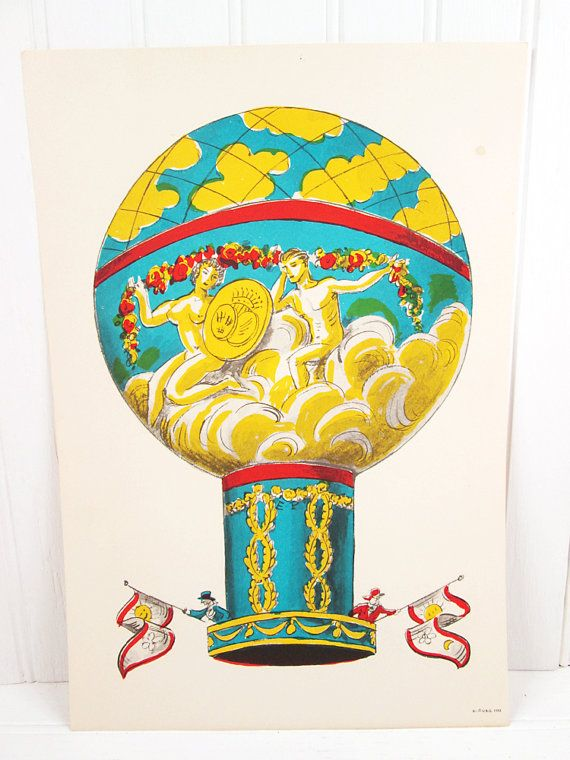 Vintage Print Hot Air Balloon Illustrated Color Lithograph ...