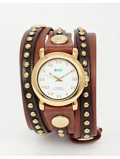 La Mer Bali Stud Wrap Watch - Brown