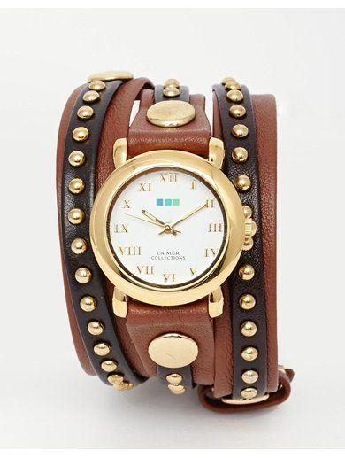 La Mer Bali Stud Wrap Watch - Brown