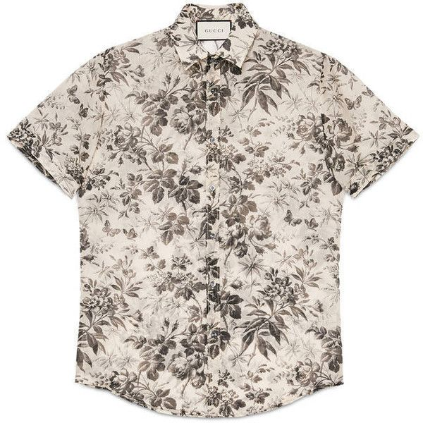 Gucci Herbarium Print Cotton Duke Shirt ($390) ❤ liked on Polyvore featuring men's fashion, men's clothing, men's shirts, men's casual shirts, men, shirts, cotton, ready to wear, mens print shirts and gucci mens shirts