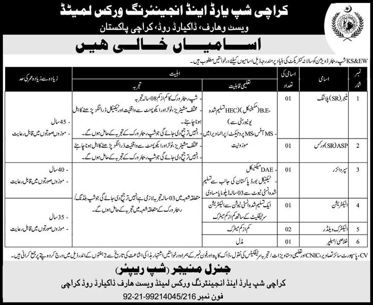 Karachi Shipyard and Engineering Works Limited Jobs, Government of Pakistan