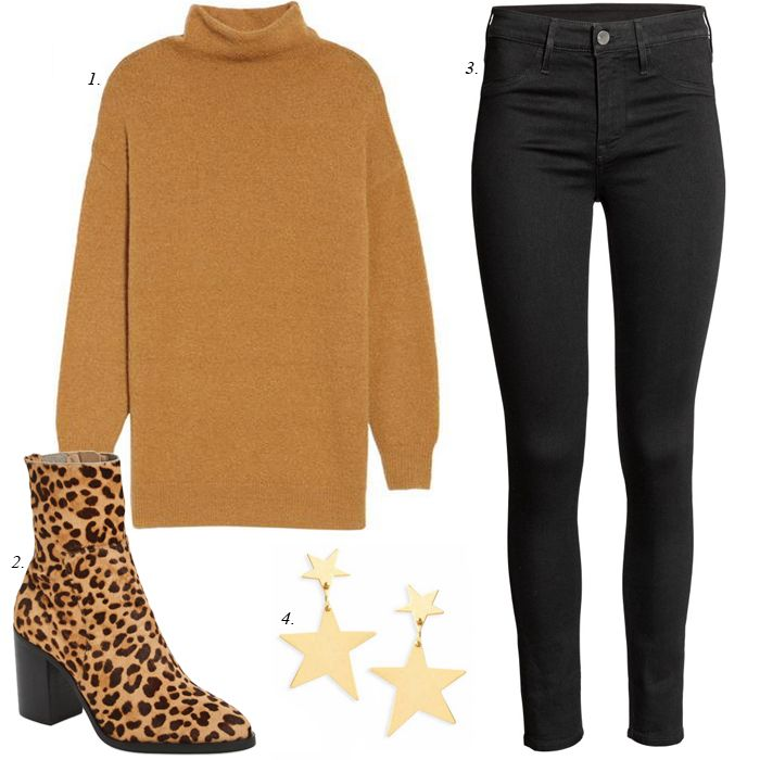 how to style leopard booties, casual, christmas, day, outfit, mix and match, wardrobe capsule collection, black skinny jeans, boucle, cozy sweaters, chunky sweaters, leopard boots