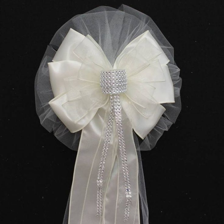 Ivory Bling Wedding Pew Bows - Package Perfect Bows - 2